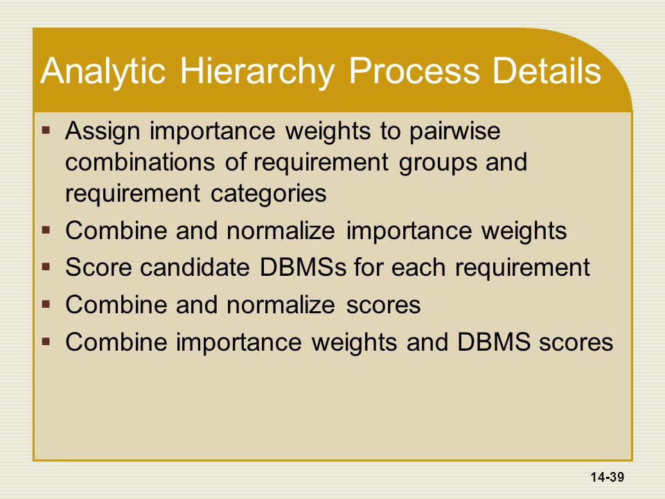14-39 Analytic Hierarchy Process Details  Assign importance weights to pairwise combinations of requirement groups and requirement categories  Combine and normalize importance weights  Score candidate DBMSs for each requirement  Combine and normalize scores  Combine importance weights and DBMS scores