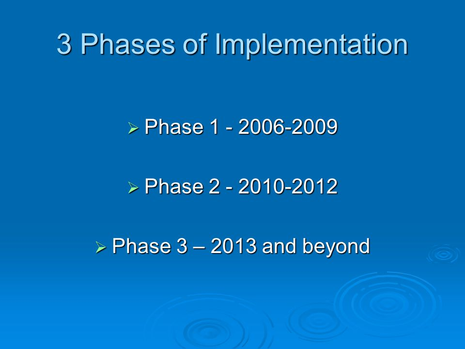 3 Phases of Implementation  Phase 1 - 2006-2009  Phase 2 - 2010-2012  Phase 3 – 2013 and beyond