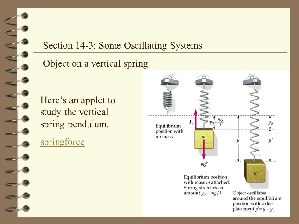 Section 14-3: Some Oscillating Systems Object on a vertical spring Here's an applet to study the vertical spring pendulum.