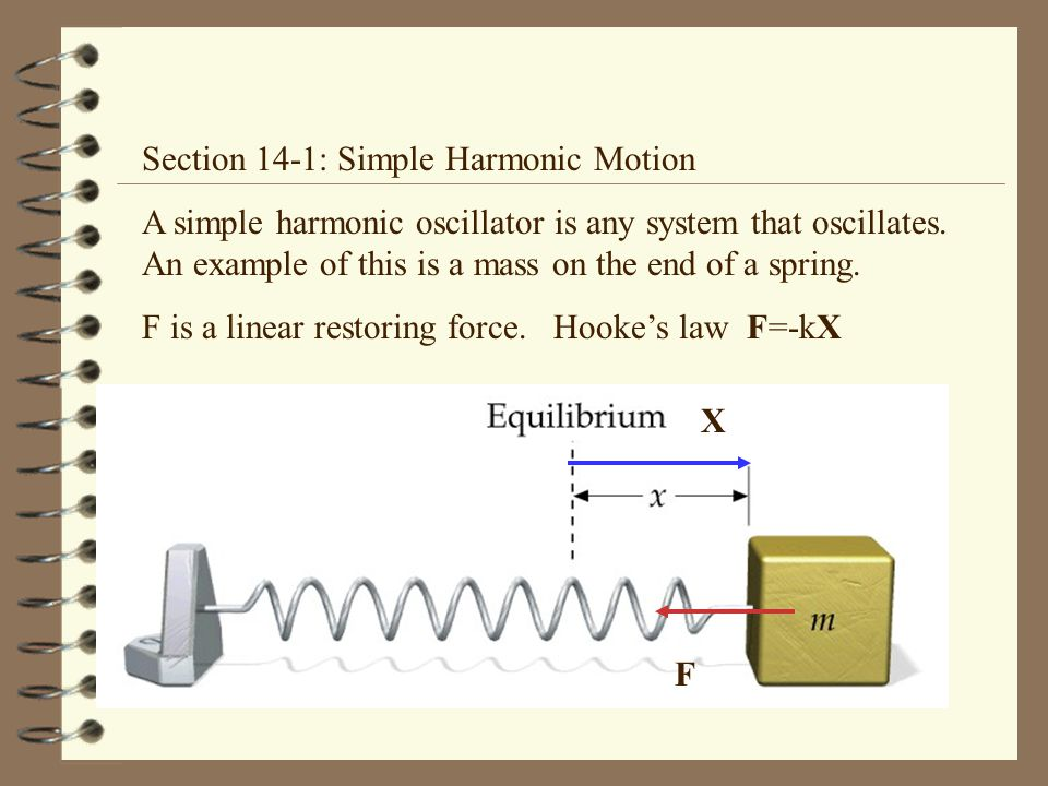 Section 14-1: Simple Harmonic Motion A simple harmonic oscillator is any system that oscillates.