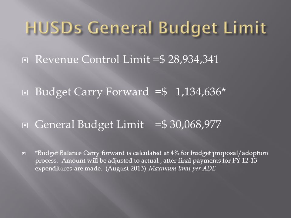  Revenue Control Limit =$ 28,934,341  Budget Carry Forward =$ 1,134,636*  General Budget Limit =$ 30,068,977  *Budget Balance Carry forward is calculated at 4% for budget proposal/adoption process.