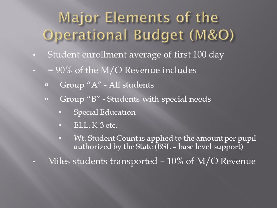 Student enrollment average of first 100 day = 90% of the M/O Revenue includes  Group A - All students  Group B - Students with special needs Special Education ELL, K-3 etc.
