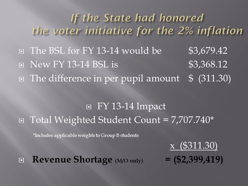  The BSL for FY 13-14 would be $3,679.42  New FY 13-14 BSL is$3,368.12  The difference in per pupil amount $ (311.30)  FY 13-14 Impact  Total Weighted Student Count = 7,707.740* *Includes applicable weights to Group B students x ($311.30)  Revenue Shortage (M/O only) = ($2,399,419)