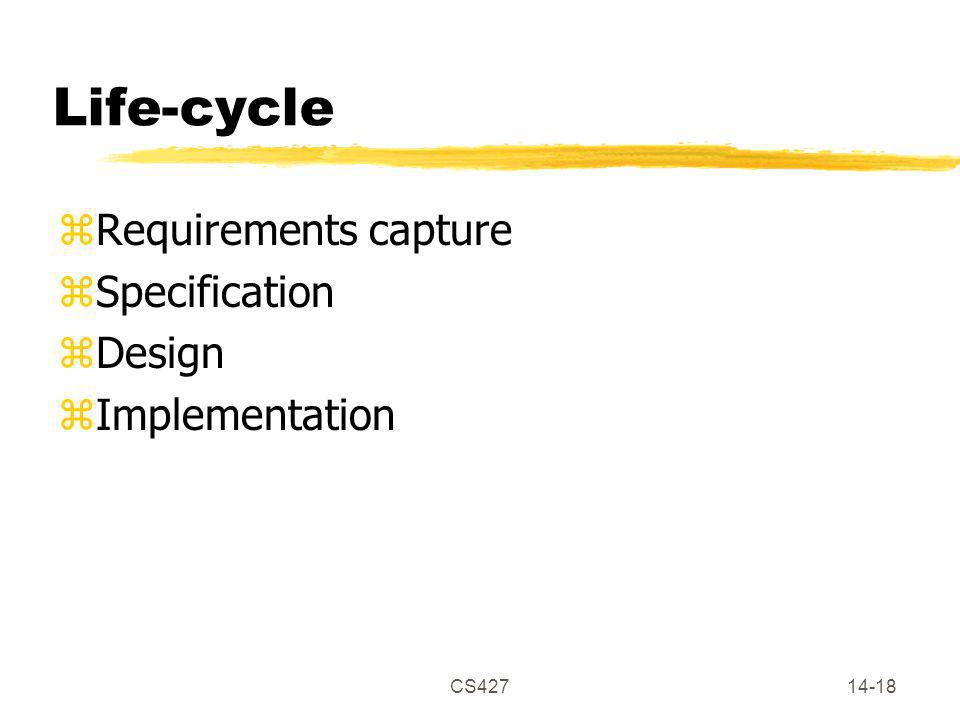 CS42714-18 Life-cycle zRequirements capture zSpecification zDesign zImplementation