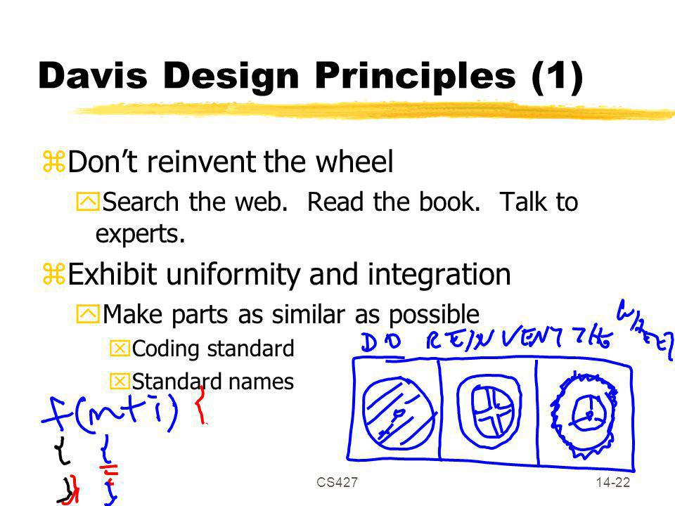 CS42714-22 Davis Design Principles (1) zDon't reinvent the wheel ySearch the web.