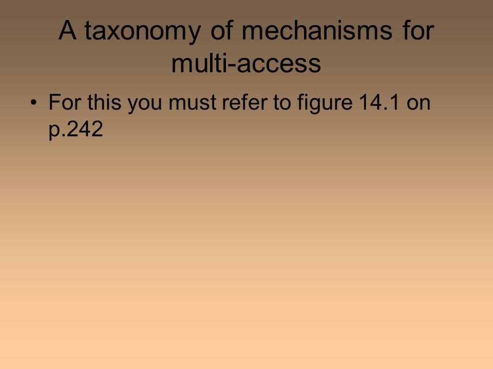 A taxonomy of mechanisms for multi-access For this you must refer to figure 14.1 on p.242