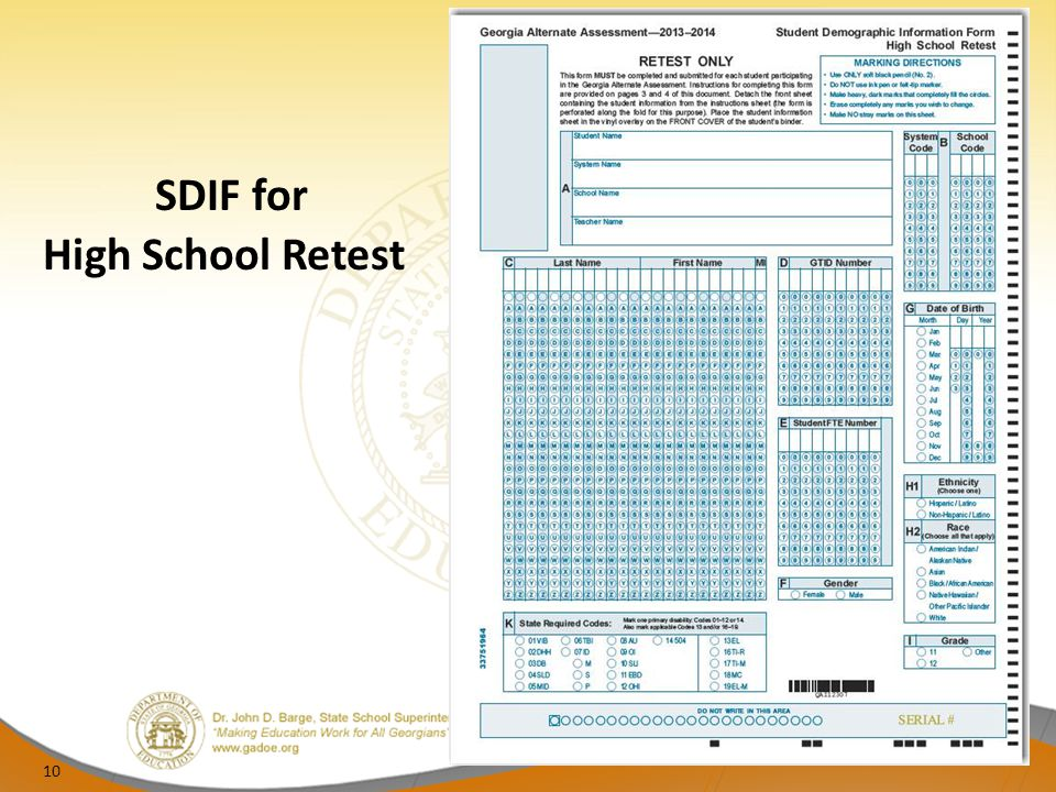 SDIF for High School Retest 10