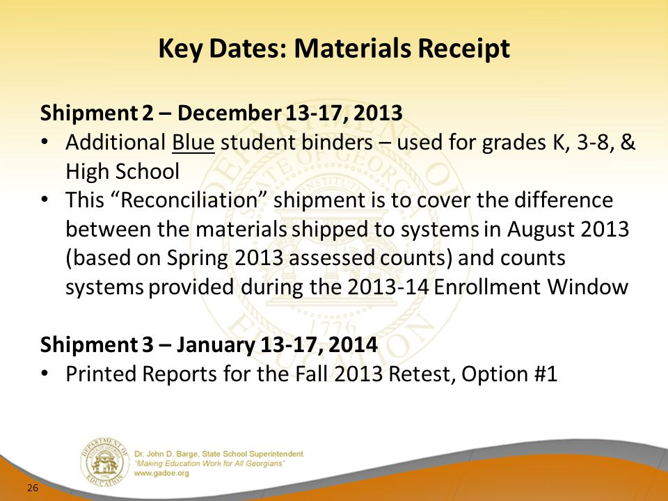 "Key Dates: Materials Receipt Shipment 2 – December 13-17, 2013 Additional Blue student binders – used for grades K, 3-8, & High School This ""Reconcili"