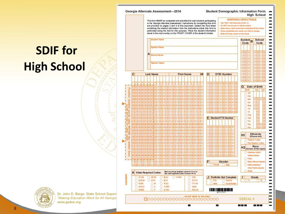 SDIF for High School 8