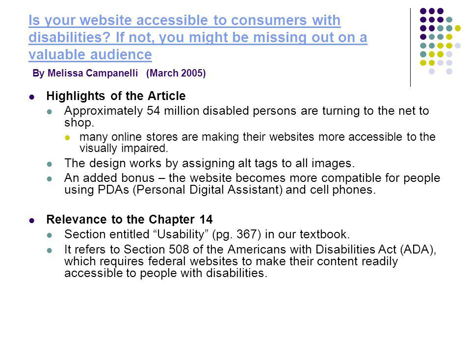 Is your website accessible to consumers with disabilities.