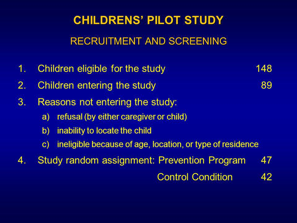 CHILDRENS' PILOT STUDY RECRUITMENT AND SCREENING 1.Children eligible for the study148 2.Children entering the study 89 3.Reasons not entering the study: a)refusal (by either caregiver or child) b)inability to locate the child c)ineligible because of age, location, or type of residence 4.Study random assignment: Prevention Program 47 Control Condition 42
