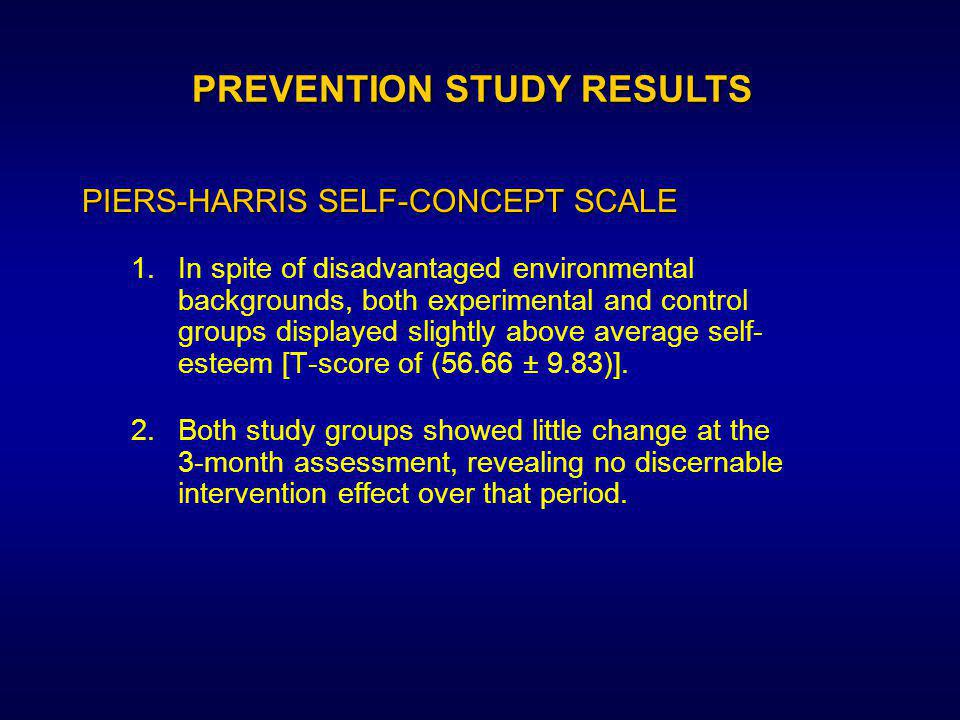 1.In spite of disadvantaged environmental backgrounds, both experimental and control groups displayed slightly above average self- esteem [T-score of (56.66 ± 9.83)].
