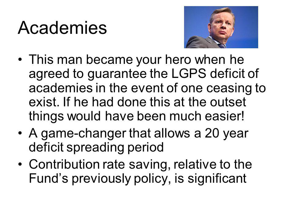 Academies This man became your hero when he agreed to guarantee the LGPS deficit of academies in the event of one ceasing to exist.
