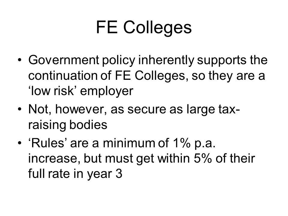 FE Colleges Government policy inherently supports the continuation of FE Colleges, so they are a 'low risk' employer Not, however, as secure as large tax- raising bodies 'Rules' are a minimum of 1% p.a.