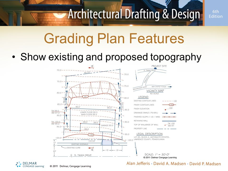 Grading Plan Features Show existing and proposed topography