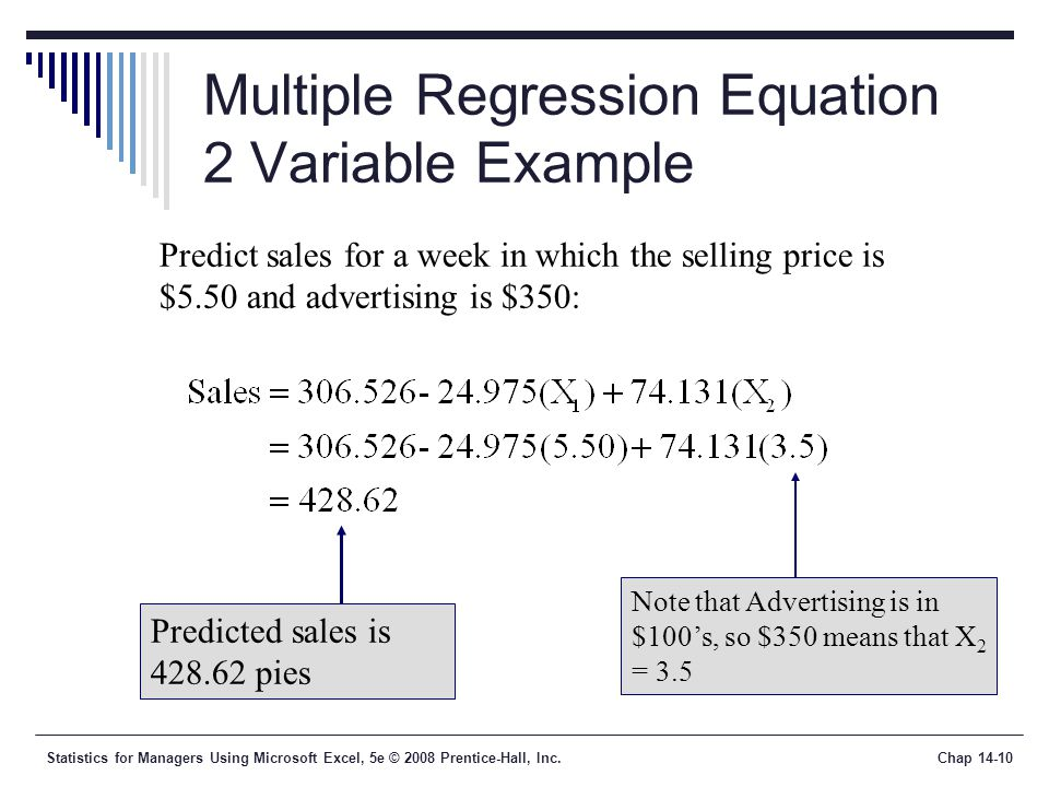 Statistics for Managers Using Microsoft Excel, 5e © 2008 Prentice-Hall, Inc.Chap 14-10 Multiple Regression Equation 2 Variable Example Predict sales for a week in which the selling price is $5.50 and advertising is $350: Predicted sales is 428.62 pies Note that Advertising is in $100's, so $350 means that X 2 = 3.5