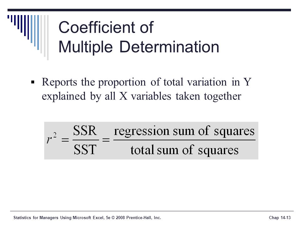 Statistics for Managers Using Microsoft Excel, 5e © 2008 Prentice-Hall, Inc.Chap 14-13 Coefficient of Multiple Determination  Reports the proportion