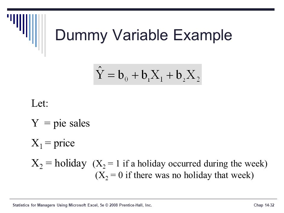 Statistics for Managers Using Microsoft Excel, 5e © 2008 Prentice-Hall, Inc.Chap 14-32 Dummy Variable Example Let: Y = pie sales X 1 = price X 2 = hol