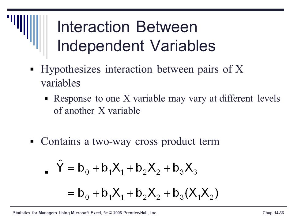 Statistics for Managers Using Microsoft Excel, 5e © 2008 Prentice-Hall, Inc.Chap 14-36 Interaction Between Independent Variables  Hypothesizes intera