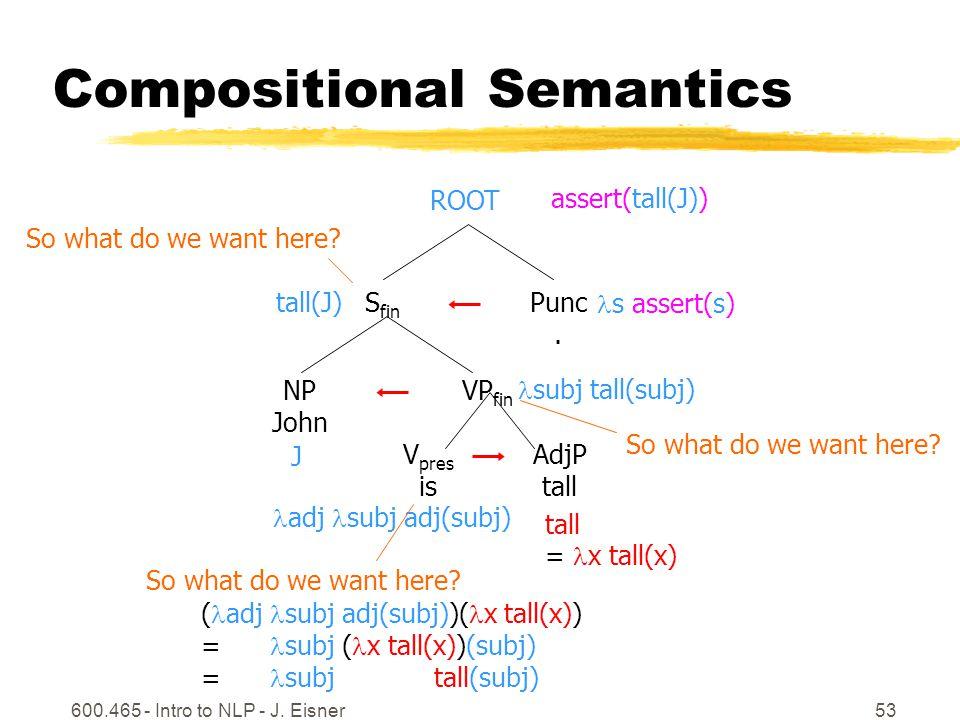 600.465 - Intro to NLP - J. Eisner53 Compositional Semantics AdjP tall VP fin S fin ROOT Punc.
