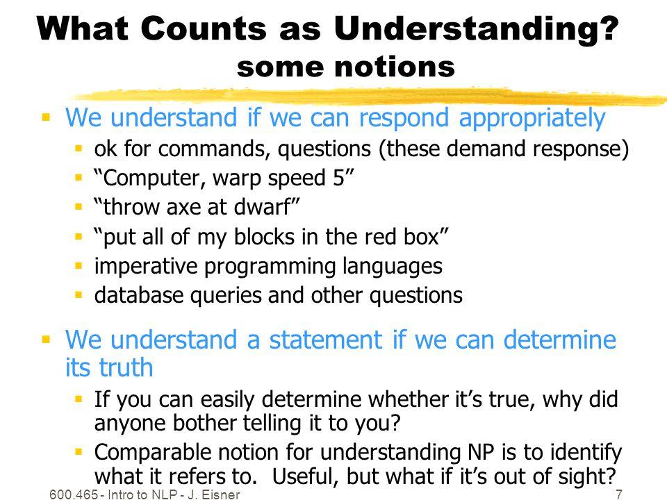 600.465 - Intro to NLP - J.Eisner8 What Counts as Understanding.