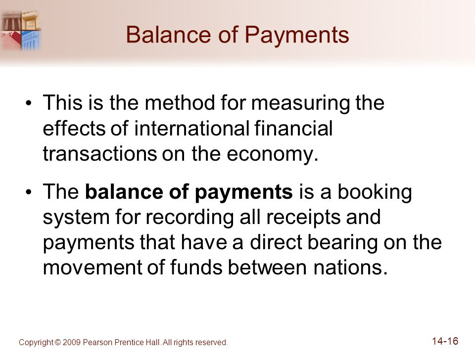 Copyright © 2009 Pearson Prentice Hall. All rights reserved. 14-16 Balance of Payments This is the method for measuring the effects of international f