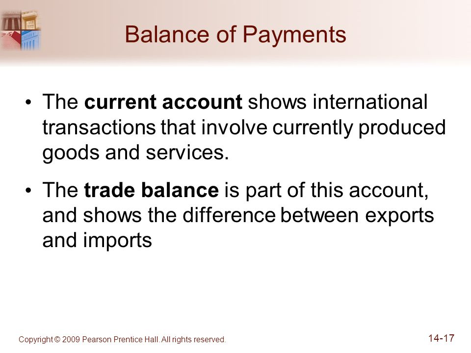 Copyright © 2009 Pearson Prentice Hall. All rights reserved. 14-17 Balance of Payments The current account shows international transactions that invol