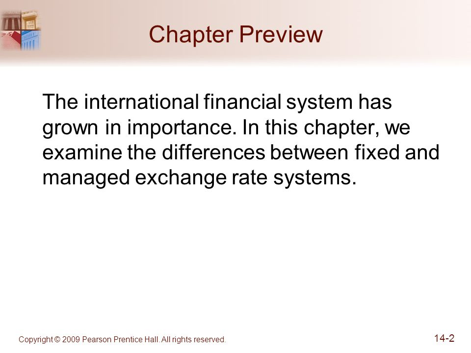 Copyright © 2009 Pearson Prentice Hall. All rights reserved. 14-2 Chapter Preview The international financial system has grown in importance. In this