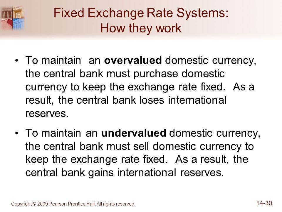 Copyright © 2009 Pearson Prentice Hall. All rights reserved. 14-30 Fixed Exchange Rate Systems: How they work To maintain an overvalued domestic curre