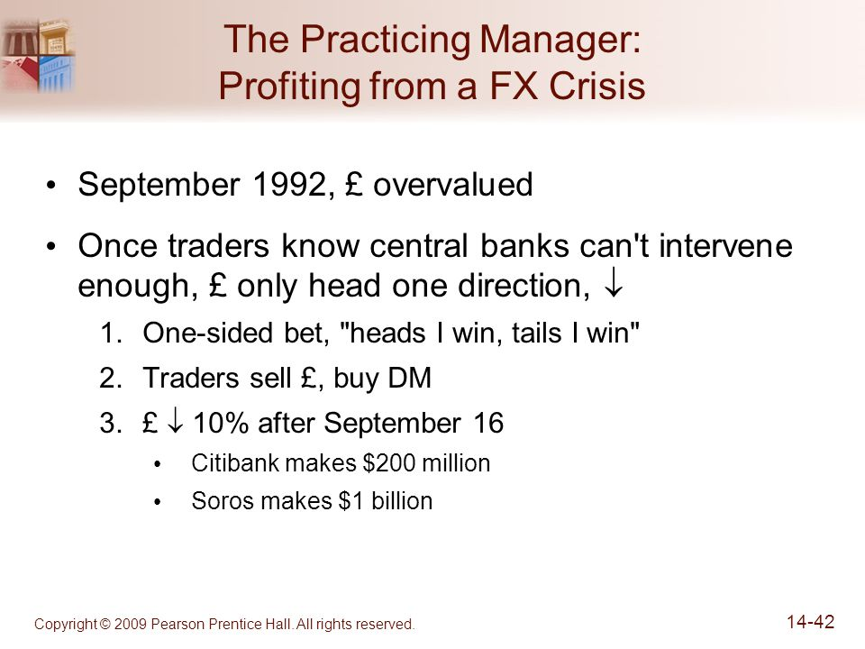 Copyright © 2009 Pearson Prentice Hall. All rights reserved. 14-42 The Practicing Manager: Profiting from a FX Crisis September 1992, £ overvalued Onc