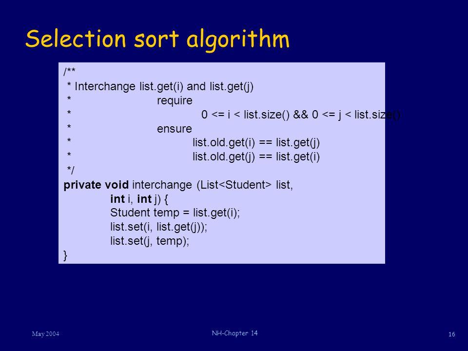 16 May 2004 NH-Chapter 14 Selection sort algorithm /** * Interchange list.get(i) and list.get(j) *require * 0 <= i < list.size() && 0 <= j < list.size() *ensure * list.old.get(i) == list.get(j) * list.old.get(j) == list.get(i) */ private void interchange (List list, int i, int j) { Student temp = list.get(i); list.set(i, list.get(j)); list.set(j, temp); }