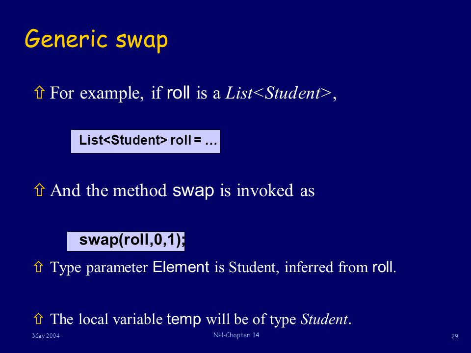 29 May 2004 NH-Chapter 14 Generic swap  For example, if roll is a List, List roll = …  And the method swap is invoked as swap(roll,0,1);  Type para