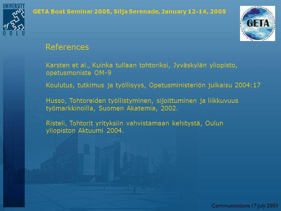 Communications 17 July 2003 GETA Boat Seminar 2005, Silja Serenade, January 12-14, 2005 References Karsten et al., Kuinka tullaan tohtoriksi, Jyväskylän yliopisto, opetusmoniste OM-9 Koulutus, tutkimus ja työllisyys, Opetusministeriön julkaisu 2004:17 Husso, Tohtoreiden työllistyminen, sijoittuminen ja liikkuvuus työmarkkinoilla, Suomen Akatemia, 2002.