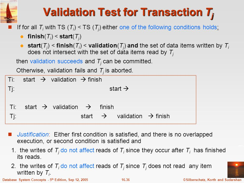 ©Silberschatz, Korth and Sudarshan16.36Database System Concepts - 5 th Edition, Sep 12, 2005 Validation Test for Transaction T j If for all T i with T