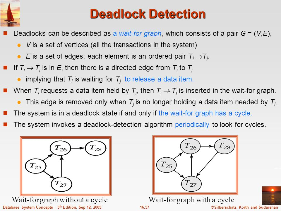 ©Silberschatz, Korth and Sudarshan16.58Database System Concepts - 5 th Edition, Sep 12, 2005 Deadlock Recovery When deadlock is detected: Some transaction will have to rolled back (made a victim) to break deadlock.