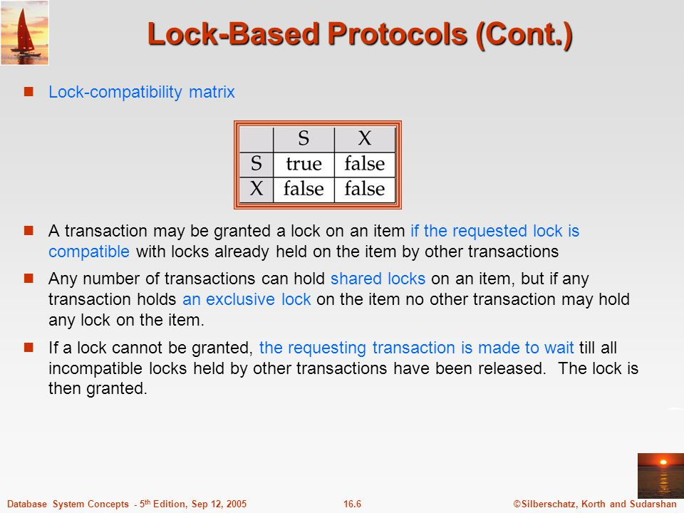 ©Silberschatz, Korth and Sudarshan16.7Database System Concepts - 5 th Edition, Sep 12, 2005 Lock-Based Protocols (Cont.) Example of a transaction performing locking: T 2 : lock-S(A); read (A); unlock(A); lock-S(B); read (B); unlock(B); display(A+B) Locking as above is not sufficient to guarantee serializability — if A and B get updated in-between the read of A and B, the displayed sum would be wrong.