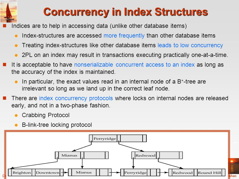 ©Silberschatz, Korth and Sudarshan16.69Database System Concepts - 5 th Edition, Sep 12, 2005 Concurrency in Index Structures Indices are to help in ac