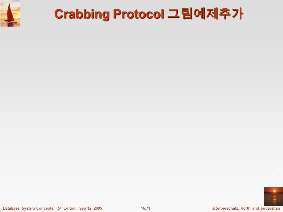 ©Silberschatz, Korth and Sudarshan16.71Database System Concepts - 5 th Edition, Sep 12, 2005 Crabbing Protocol 그림예제추가