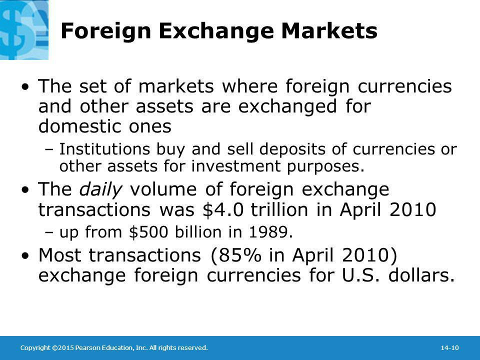 Copyright ©2015 Pearson Education, Inc. All rights reserved.14-10 Foreign Exchange Markets The set of markets where foreign currencies and other asset