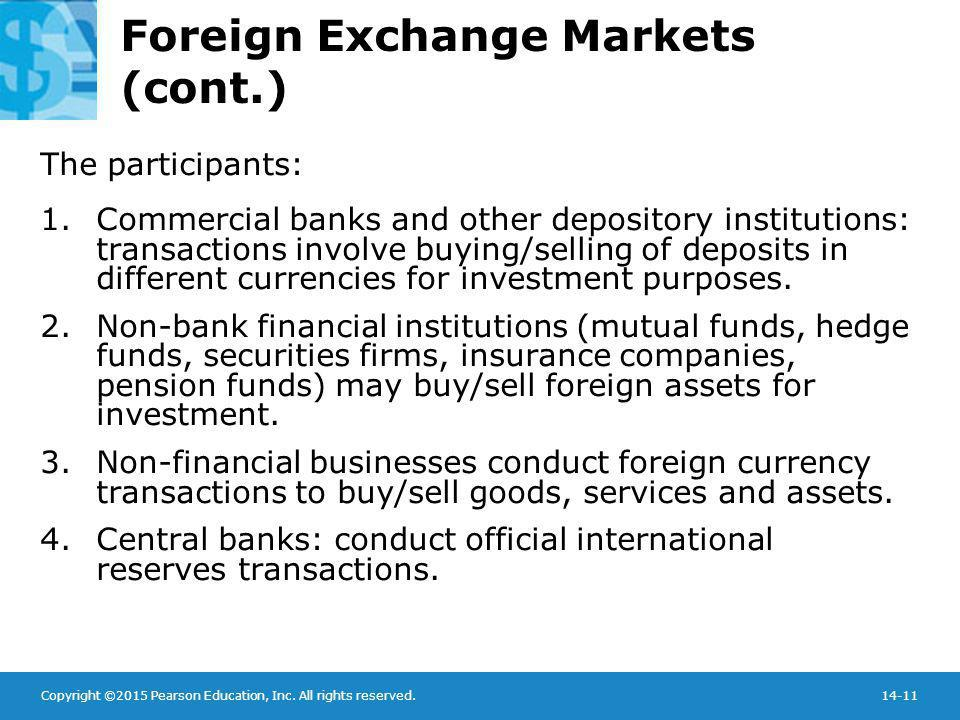 Copyright ©2015 Pearson Education, Inc. All rights reserved.14-11 Foreign Exchange Markets (cont.) The participants: 1.Commercial banks and other depo