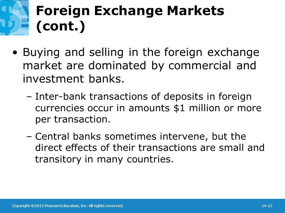 Copyright ©2015 Pearson Education, Inc. All rights reserved.14-12 Foreign Exchange Markets (cont.) Buying and selling in the foreign exchange market a