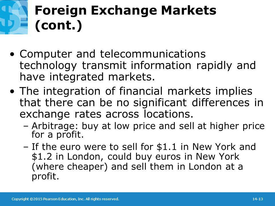 Copyright ©2015 Pearson Education, Inc. All rights reserved.14-13 Foreign Exchange Markets (cont.) Computer and telecommunications technology transmit