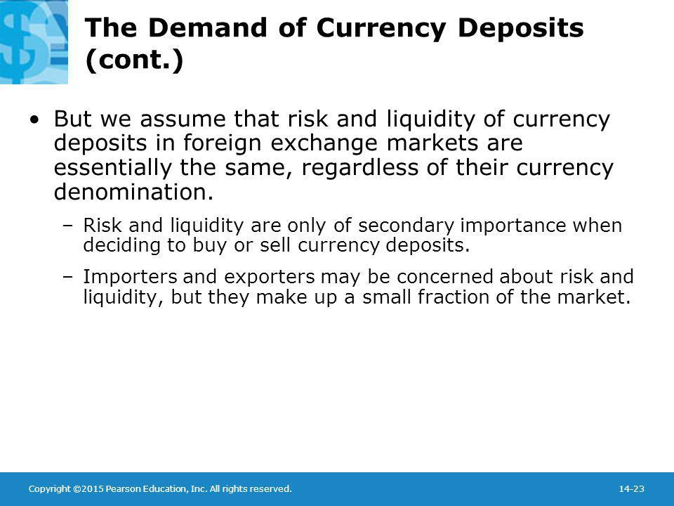 Copyright ©2015 Pearson Education, Inc. All rights reserved.14-23 The Demand of Currency Deposits (cont.) But we assume that risk and liquidity of cur