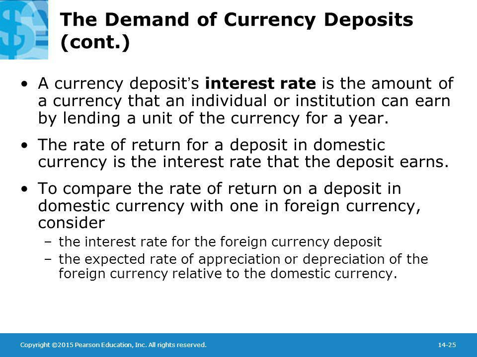Copyright ©2015 Pearson Education, Inc. All rights reserved.14-25 The Demand of Currency Deposits (cont.) A currency deposit's interest rate is the am