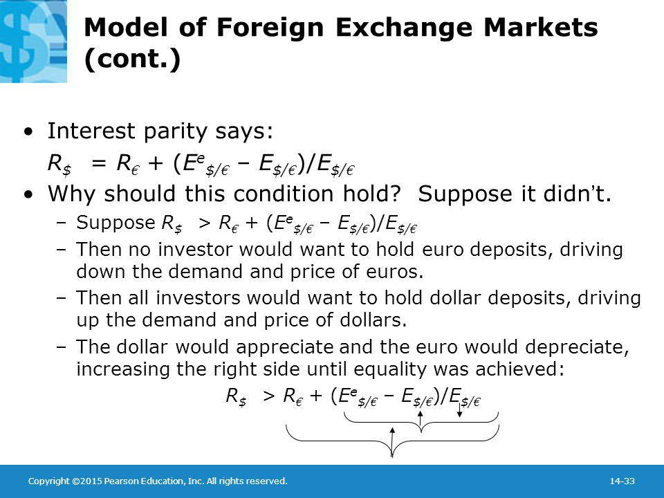 Copyright ©2015 Pearson Education, Inc. All rights reserved.14-33 Model of Foreign Exchange Markets (cont.) Interest parity says: R $ = R € + (E e $/