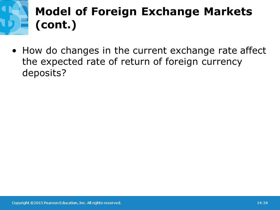 Copyright ©2015 Pearson Education, Inc. All rights reserved.14-34 Model of Foreign Exchange Markets (cont.) How do changes in the current exchange rat