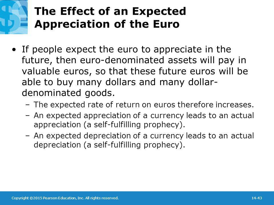 Copyright ©2015 Pearson Education, Inc. All rights reserved.14-43 The Effect of an Expected Appreciation of the Euro If people expect the euro to appr