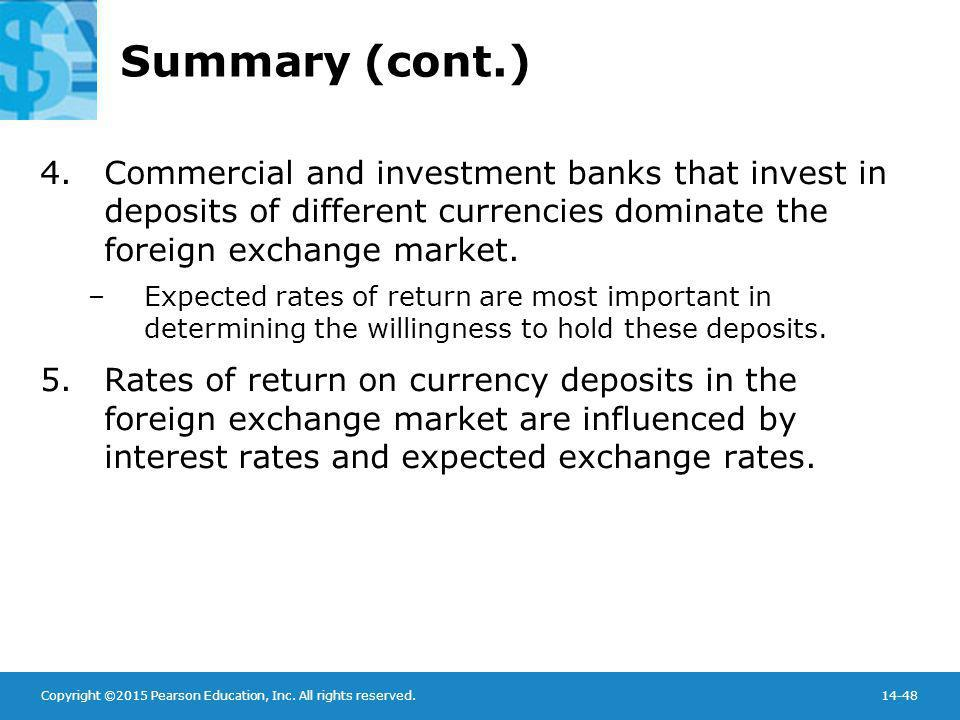Copyright ©2015 Pearson Education, Inc. All rights reserved.14-48 Summary (cont.) 4.Commercial and investment banks that invest in deposits of differe