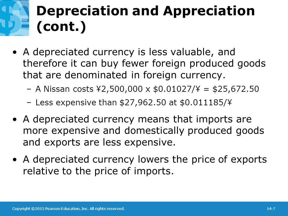 Copyright ©2015 Pearson Education, Inc. All rights reserved.14-7 Depreciation and Appreciation (cont.) A depreciated currency is less valuable, and th