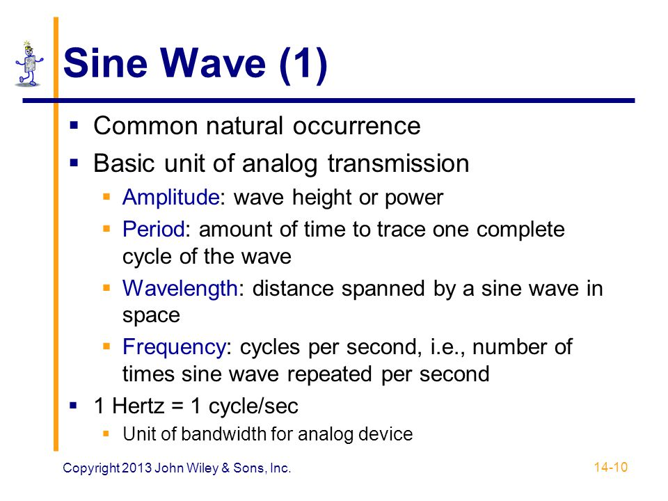 Sine Wave (1)  Common natural occurrence  Basic unit of analog transmission  Amplitude: wave height or power  Period: amount of time to trace one